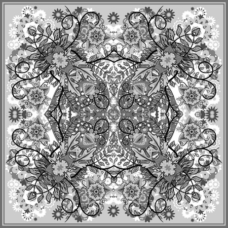 ascot: authentic silk neck scarf or kerchief square pattern design in eastern style for print on fabric, vector illustration. Black and white fantasy flower on gray background. Illustration
