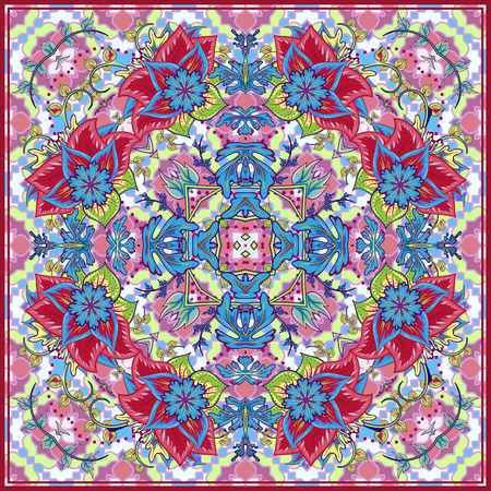 trendy tissue: Bandana Print with tribal ethnic ornament, silk neck scarf or kerchief square pattern design style for print on fabric, abstract floral background. blue red green fantasy flower on pink background.