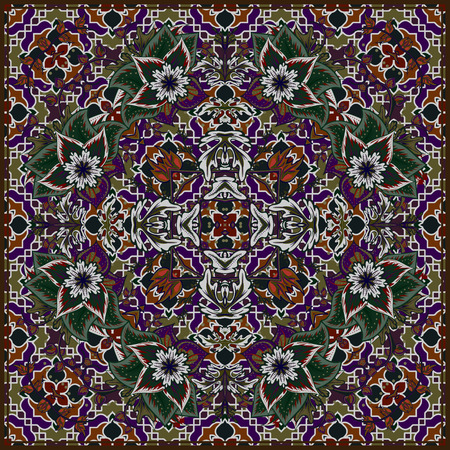 neck scarf: Bandana Print with tribal ethnic ornament, silk neck scarf or kerchief square pattern design style for print on fabric, abstract floral background. Dark violet gray green brown background.