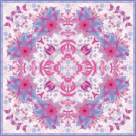 Bandana Print with tribal ethnic ornament, silk neck scarf or kerchief square pattern design style for print on fabric, abstract floral background. Delicate pink lilac blue fantasy flower on white background.