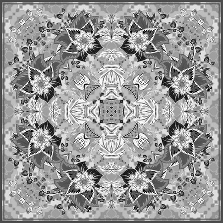 voile: authentic silk neck scarf or kerchief square pattern design in eastern style for print on fabric, vector illustration. Black and white fantasy flower on gray background. Illustration