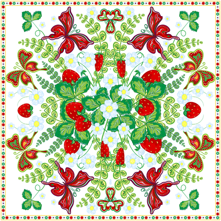 ascot: Decorative color floral background, strawberry and butterfly pattern and ornate lace frame. Bandanna shawl fabric print, silk neck scarf, kerchief design, vector illustration. Fruit square decoration