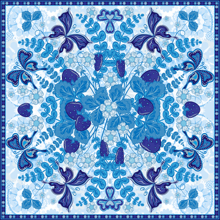 neck scarf: Decorative color floral background, strawberry pattern and ornate lace frame. Bandanna shawl fabric print, silk neck scarf, kerchief design, vector illustration. Fruit square decoration. Blue Illustration