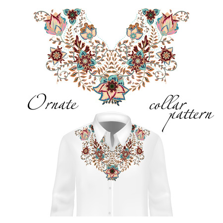 blouses: Vector design for collar shirts, shirts, blouses. Colorful ethnic flowers neck. Paisley decorative border. Ornate collar pattern. Brown beige blue.