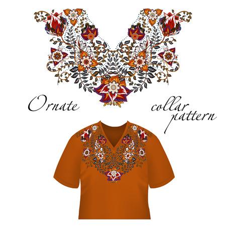 Vector design pour chemises à col, chemises, chemisiers. Colorful cou fleurs ethniques. bordure décorative Paisley. motif de collier orné. orange bleu Brown.