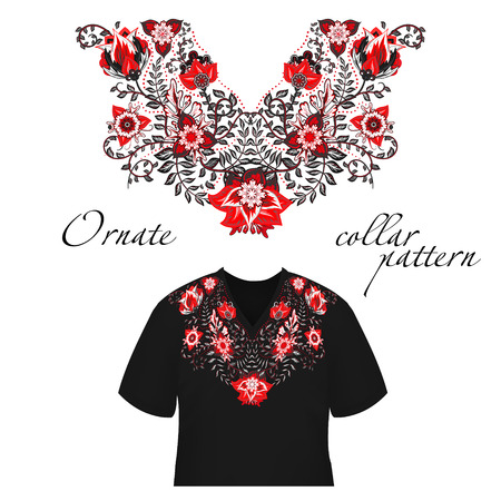 blouses: Vector design for collar shirts, shirts, blouses. Colorful ethnic flowers neck. Paisley decorative border. Ornate collar pattern. Red gray. Illustration