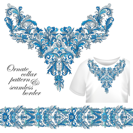 blue collar: Neckline embroidery fashion, print, decor, lace, paisley, stock vector. Luxury flowers collar designe. Seamless border bonus. Blue