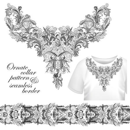 designe: Neckline embroidery fashion, print, decor, lace, paisley, stock vector. Luxury flowers collar designe. Seamless border bonus. Gray Illustration