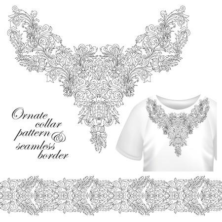 designe: Neckline embroidery fashion, print, decor, lace, paisley, stock vector. Luxury flowers collar designe. Seamless border bonus. Outline embroidery.