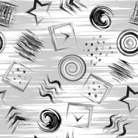 brash: Seamless geometric grunge hand drawn paint brash pattern in vector. Square wave circle swirl star dot background. Black and white.