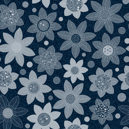 jeans fabric: Vector Jeans background with flowers. Denim seamless pattern. Blue jeans fabric. Floral grunge background.