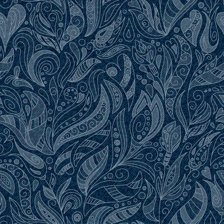 Seamless Denim Floral Pattern. Blue Jeans texture. Vector 일러스트