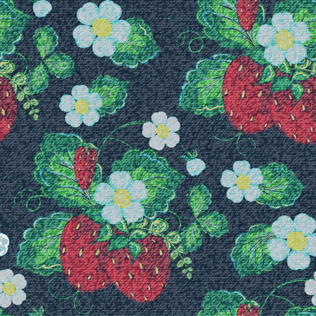 Jeans strawberry seamless background. Vector colorful pattern.