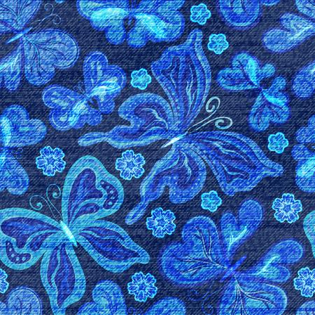 Vektor Denim nahtlose Muster. Jeans Hintergrund mit Schmetterlingen. Blaue Jeans Tuch Hintergrund. Illustration