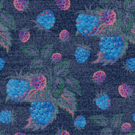 raspberry dress: Jeans raspberry seamless background. Vector colorful pattern. Illustration
