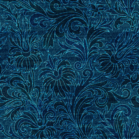 jeans background: Vector Denim floral seamless pattern. Jeans background with hand drawing doodle flowers. Blue jeans cloth background Illustration