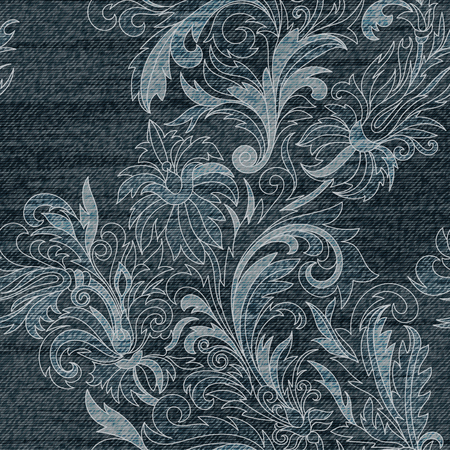 snippet: Vector Jeans background with flowers. Denim seamless pattern. Gray jeans fabric. Floral lacy grunge background.