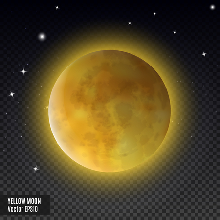 Yellow moon. Realistic detailed full moon isolated on transparent background. Eps10 vector illustration, easy to use.