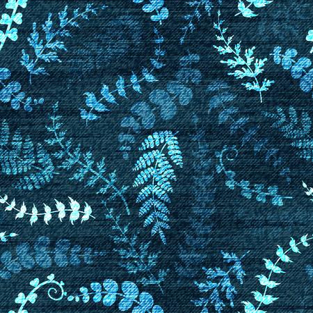 Vector dril de algodón estampado de flores sin fisuras. vaqueros de fondo con el dibujo a mano hojas de bosquejo. Fondo de los tejanos tela