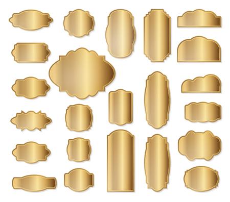 golden frames: Labels set. Gold frames. Simple golden design. Vintage style decorative border, isolated on white background. Deco elegant art object. Vector illustration.