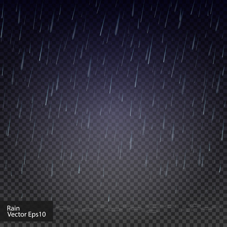 Rain drops on the transparent background. Rainy weather. Really transparent effect. Vector illustration