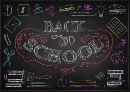 Terug naar school typografische achtergrond op schoolbord met school pictogram elementen. Gekleurd krijt op blackboard