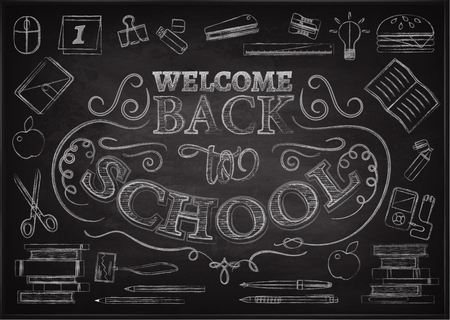 welcome back to school background with stationery and books