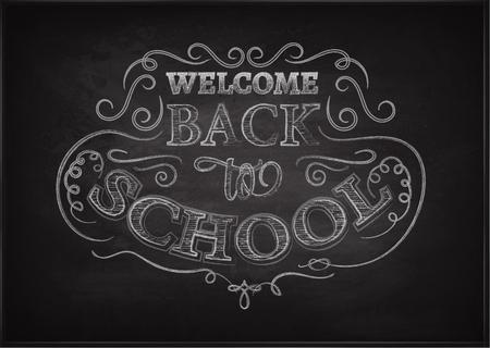 intermediate: Welcome back to school. Lettering on chalkboard. Eps10. Ornate chalk pattern.