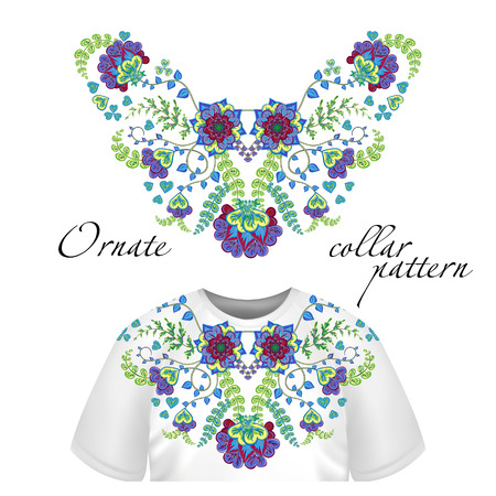 blouses: Vector design for collar shirts, shirts, blouses. Colorful ethnic flowers neck. Paisley decorative border. Ornate collar pattern. Greem purple blue.