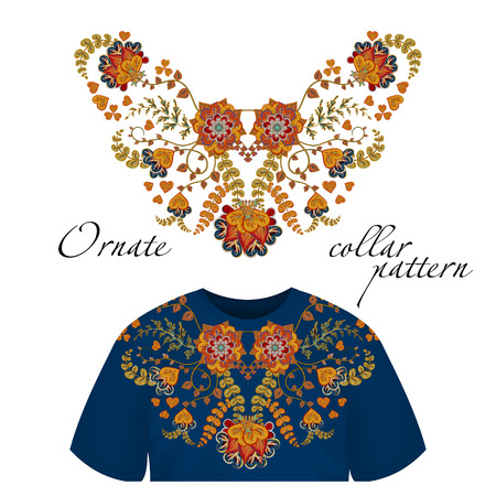 by the collar: Vector design for collar shirts, shirts, blouses. Colorful ethnic flowers neck. Paisley decorative border. Ornate collar pattern. Brown orange blue.