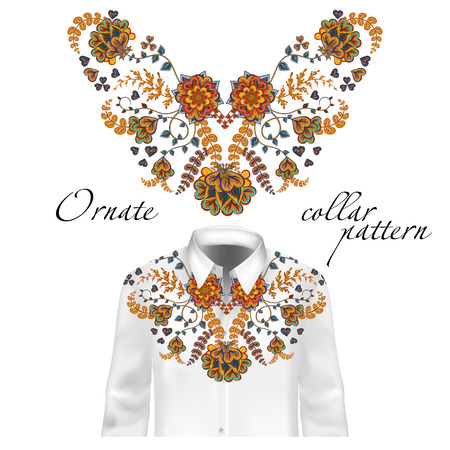 brown shirt: Floral pattern on collar, neck print. Abstract hand drawing flowers ornament. Collar pattern on shirt mockup Vector illustration. Brown orange