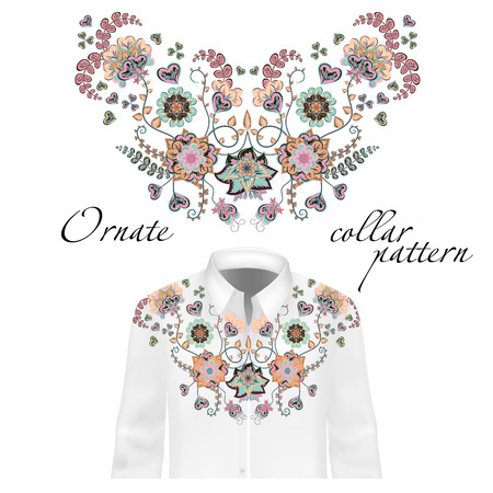 blue collar: Floral pattern on collar, neck print. Collar pattern on shirt mockup. Abstract hand drawing flowers ornament. Vector illustration. Delicate blue beige pink colors Illustration
