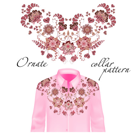brown shirt: Floral curl neck embroidery for blouses. Vector, illustration. Decoration for clothes. Front collar design. Pink and brown on delicate pink shirt mockup.
