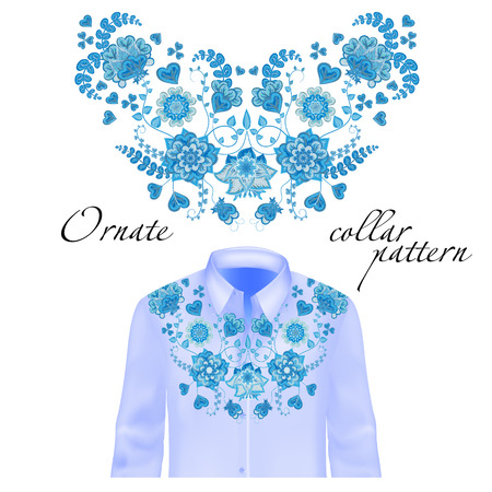 blue collar: Floral curl neck embroidery for blouses. Vector, illustration. Decoration for clothes. Front collar design. Blue on shirt mockup.