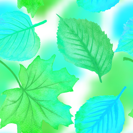 Vector seamless pattern with green and blue leaves, natural backdrop Illustration