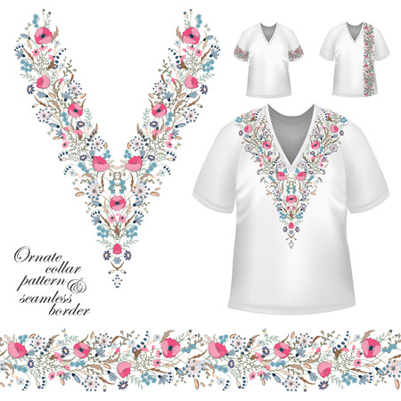 blue collar: Vector design for collar shirts, blouses, T-shirt. Cute flowers. Colorful embroidery. Seamless border bonus. Pink blue