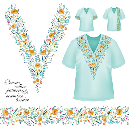 blue collar: Vector design for collar shirts, blouses, T-shirt. Cute flowers. Colorful embroidery. Seamless border bonus. Yellow blue