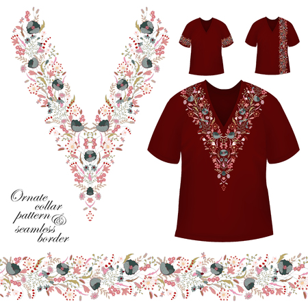 Vector design for collar shirts, blouses, T-shirt. Cute flowers. Colorful embroidery. Seamless border bonus. Pink gray