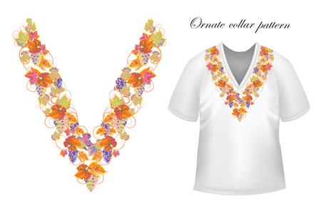 blouses: Vector design for collar shirts, blouses, T-shirt. Grapes branch. Colorful embroidery. Seamless border bonus. Orange blue