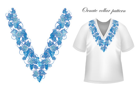 blouses: Vector design for collar shirts, blouses, T-shirt. Grapes branch. Colorful embroidery. Seamless border bonus. Blue