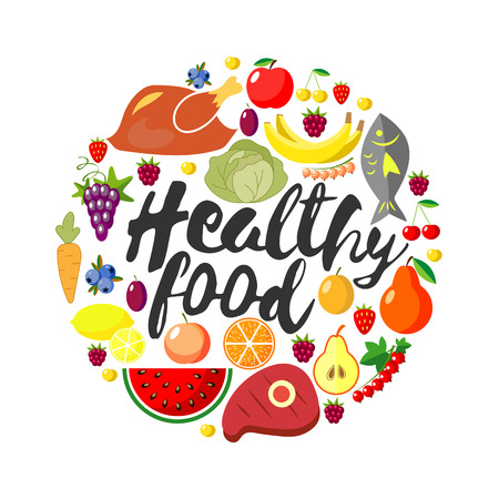 Vector round frame from foodftuffs. Healthy food. Flat. Fresh product. World Health Day. Lettering. Handwritten inscription. Calligraphy