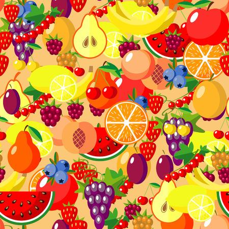 Flat fruits seamless pattern. Vector flat Illustrations of watermelon, lemon, banana, cherry, apple, strawberries, raspberries, blackberries, orange grape pear for web print and textile