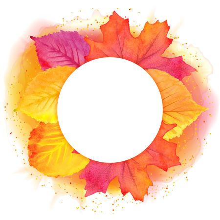 Round border of various autumn leaves isolated on white. Vector