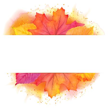 illustration of autumn banner with maple leaf Illustration