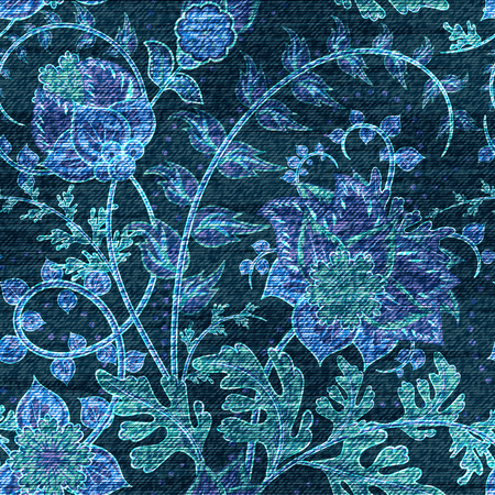 printed material: Vector Denim floral seamless pattern. Jeans background with fantasy flowers. Blue jeans cloth background