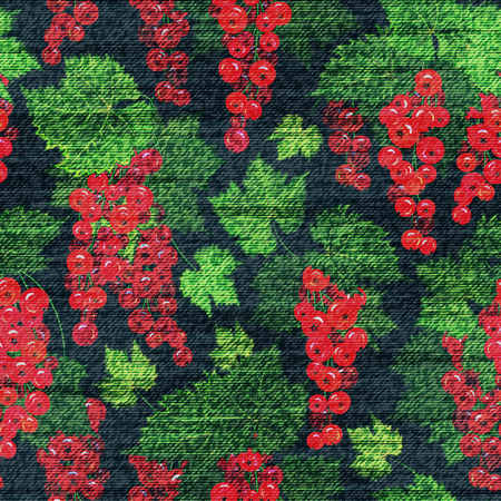 red currant: Vector Denim floral seamless pattern. Jeans background with red currant. Blue jeans cloth background whith red green berries. Illustration