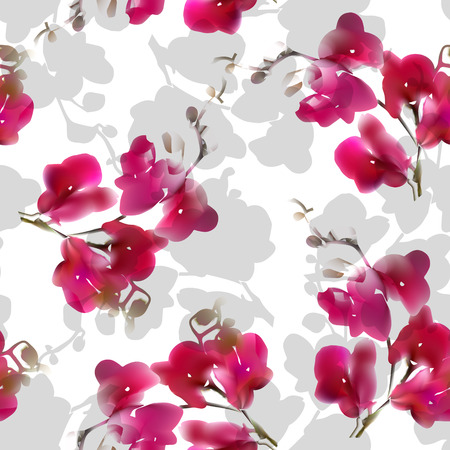 tera: Vector watercolor imitation tropical orchid flower seamless pattern. Colorful illustration. Pink purple. Not trace.