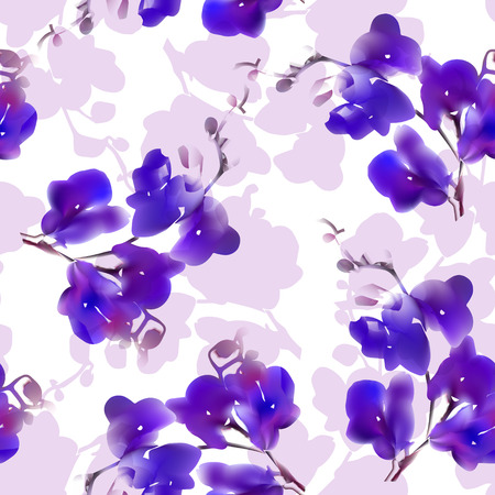 Vector watercolor imitation tropical orchid flower seamless pattern. Colorful illustration. Blue violet. Not trace.