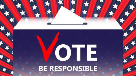 make a choice: Vote vector illustration. Ballot and politics. Putting voting ballot in ballot box. Voting and election concept. Make a choice image. Illustration