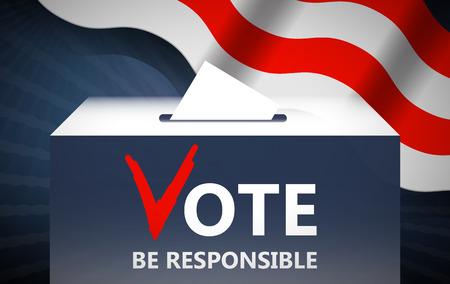 designate: Vote vector illustration. Ballot and politics. Putting voting ballot in ballot box. Voting and election concept. Make a choice image. Illustration